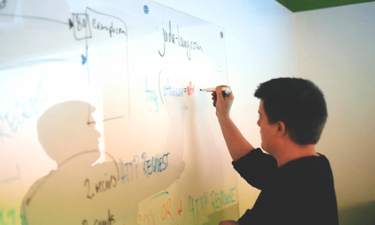 White man in black shirt writing on a white board
